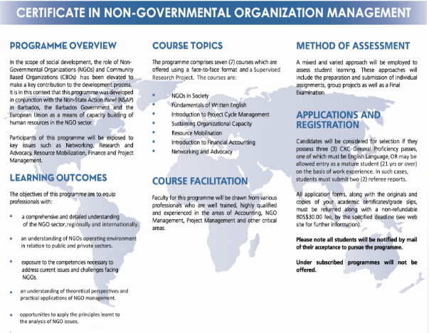 Training Awards - NGO Management Programme | Open Campus